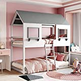 Twin Over Twin House Bed ,SFGJ Wood Bunk Bed Frame with Roof,2 Windows , Ladder for Kids Teens Girls Boys, Bedroom Guest Room,No Box Spring Needed (White)