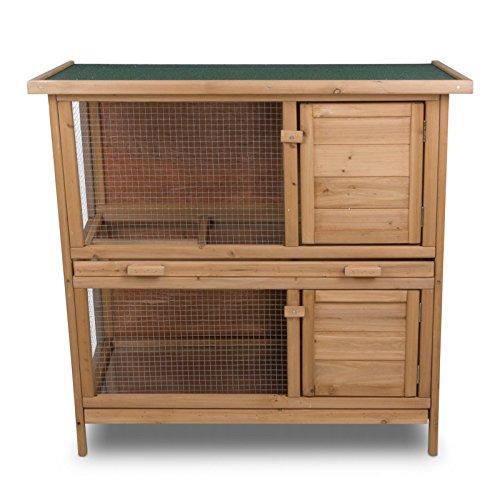 nxtbuy Hasenstall Lucky mit 2 Etagen - komfortabler & wetterfester Kaninchenkäfig aus Holz