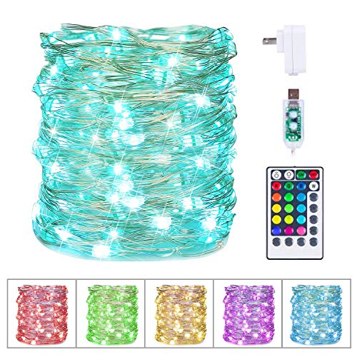 Christmas Fairy Lights 33 Feet 100 Led Color Changing String Lights with Remote and Plug 132 Display Modes for Xmas Tree Wreath Garland Window Holiday Lights Decoration 16 Colors
