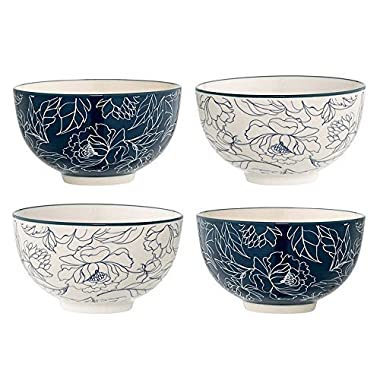 Bloomingville Fleur Ceramic 4.5  Bowls, Blue / Ivory, Set of 4