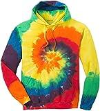 Joe's USA Hoodies Tie-Dye Hooded Sweatshirt,Large Rainbow Tie-Dye
