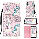 Ssenlin 3D Folio Case for LG Velvet, PU Leather Wallet Case [Card Slots][Wrist Strap] Stand Magnetic Snap Protective Flip Cover (Unicorn)