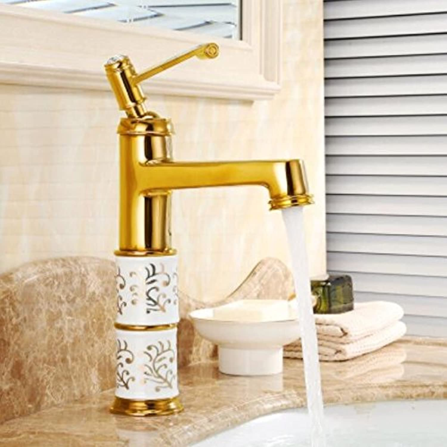 Decorry golden Hot and Cold All Copper Washbasin Faucet Antique Wash Basin Faucet European Basin Basin Washbasin Faucet Ceramic Core Spool Hose