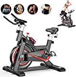 Fnova Exercise Bike Indoor Cycling for Home/Gym Use with Heart Rate Monitor, LCD Display, Pulse Sensors, Super Mute, UK STOCK (Black_Model3)