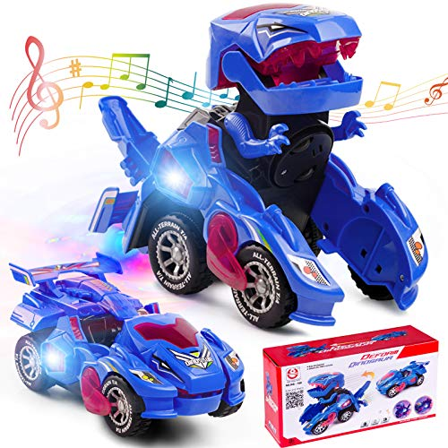 Refasy Robot Cars for Boys 3+ Year Old,Automatic Transforming Car Dinosaur Toys Deformation Car Ideal Xmas Birthdays Gifts for Kids Age 5-7 Transforming Robot Vehicle Car Boys Toys Blue