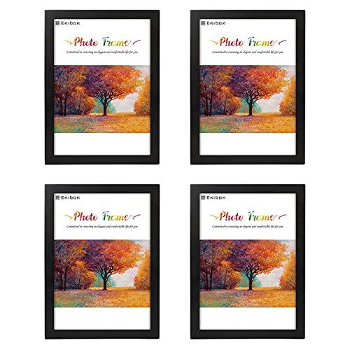 Enibon 4 Pezzi Cornice Per Foto A4, Cornice Portafoto Moderno , Cornice Foto Plexiglass in Legno MDF Per Decorazione Muro Maison Bureau, Nero