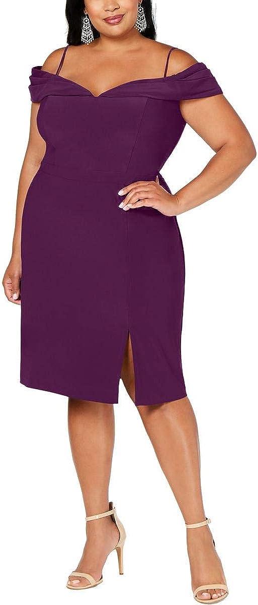 Morgan & Co. Womens Plus Off-The-Shoulder Side Slit Cocktail Dress Purple 18W