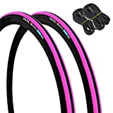 GORIX(ゴリックス) 自転車用タイヤ 2本 + チューブ 2個セット ロードバイク 他対応 Gtoair 25c (ピンク)