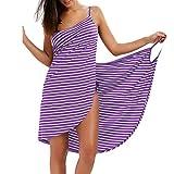 Vestido Verano Rayas Pareo Bikini Cover Up Proteccion Solar Ropa de Playa Tallas Grandes Púrpura-B/2XL
