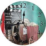 LUHUN Reloj de Pared Moderno,Producción de Salas de Cine Carretes de película Entradas de claqueta Palomitas y megáfonoreloj de Cuarzo de Cuarzo Redondo No-Ticking para Sala de Estar 30 cm