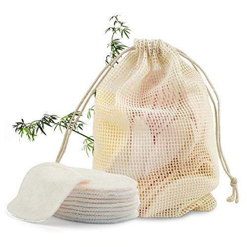 libelyef Disque Démaquillant Lavable Bio Bambou Réutilisable Tampons Démaquillants en Tissu en 12 Disques Démaquillants Bambou Utilisé pour Tous Types De Peau 1 Sac De Lavage