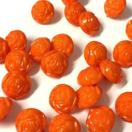 Lot de 10, 14 mm Rose Orange en forme de boutons