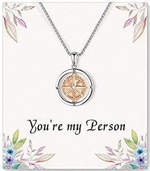 ASELFAD You re My Person Compass Necklace for Women -Best Friend Birthday Gifts for Women Long Distance Friendship Gifts for Women Friends Female