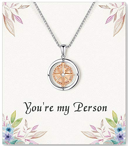 ASELFAD You're My Person Compass Necklace for Women -Best Friend Birthday Gifts for Women, Long Distance Friendship Gifts for Women Friends Female