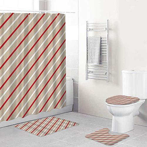 ALLMILL Juego de Cortinas de Ducha con Alfombra de baño Antideslizante,Diseño Creativo con Rojo y Khrayas de AKI, Alfombra de baño Cubierta de Inodoro Cortina de Ducha + 12 Ganchos