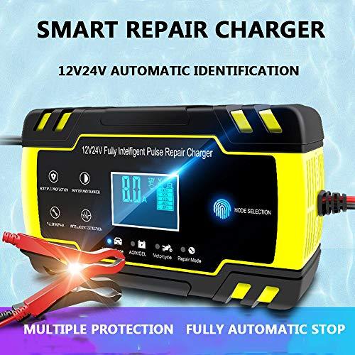ZHHID Batterieladegerät Auto und Motorrad - Batterieladegerät 12V 24V 8A Vollautomatisches Ladegerät - Trickle Charger und Maintainer - LCD Bildschirm