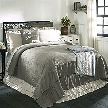 Ruffled Chambray Reversible King Quilt, 95x105, Farmhouse Style, gray and beige