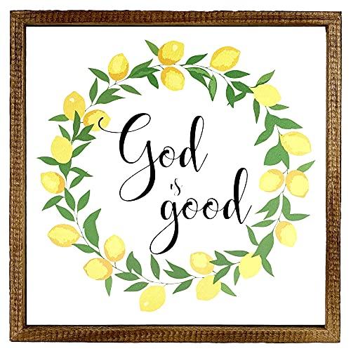 Kingdom Quality Lemon God is Good Sign - Lemon Kitchen Decor and Accessories - Christian Wall Art - Lemon Decorations for Home - Decoracion para Cocina