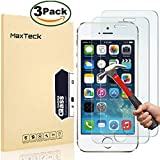 MaxTeck [3 Pack] Screen Protector for iPhone 5 5s SE , 0.26mm 9H Tempered Glass Shatterproof Screen Protector Anti-Shatter Film for iPhone 5 5S 5C SE 4 inch