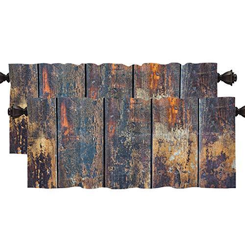 Shrahala Grunge Wood Rustic Kitchen Valances Half Window Curtain, Dark Timber Wood Brown Wall Plank Vintage Deck Kitchen Valance for Window Ink Printing Kitchen Valances for Kitchen Decor 52x18 inch