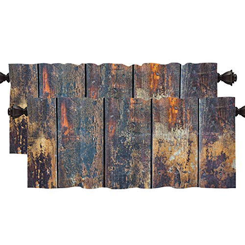 Shrahala Grunge Wood Rustic Kitchen Valances Half Window Curtain, Dark Timber Wood Brown Wall Plank Vintage Deck Kitchen Valance for Window Ink Printing Kitchen Valances for Kitchen Decor 52x18 inch
