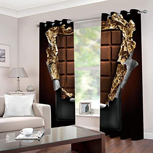 SFALHX Cortinas Dormitorio Modernas/Decor para Ventanas Habitacion Niño Insonorizantes, 2 Paneles, 117 x 229 cm(An x Al) Marrón y Chocolate