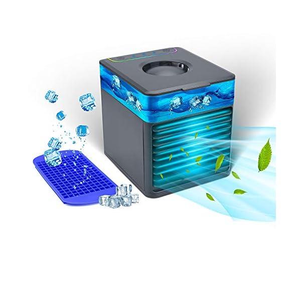 TESECU Mini Personal USB Air Cooler 3-in-1 Table Fan Portable Evaporative Cooler...