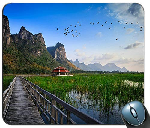 Thailand National Park Holzbrücke Lake Grass Hut Berge Vögel Maus Pad Anti Slip Desktop Maus Pad Gaming Maus Pad