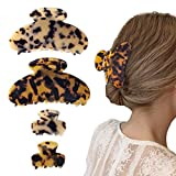 4 PCS Banana Hair Claw Clips, Tortoise Shell Cellulose Acetate Hair Jaw Clip, Celluloid Leopard Hair Clutcher Crab Clamps for Women Girls by Nspring