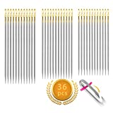 Self Threading Needles, 36pcs Needle Threader for Hand Sewing, Easy-Threading Side Opening Sewing Needles Hand Quilting for Embroidery, Older or Visually Impaired (Golden)