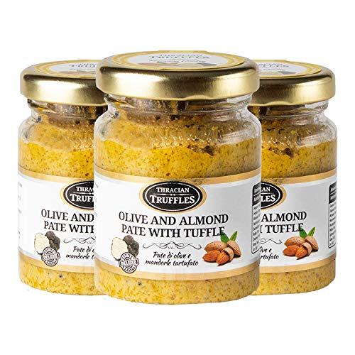 Grüne Oliven und Mandeln mit echtem schwarze trüffel Tuber Aestivum, die Delikatesse für Feinschmecker, ideal für Fleisch, gegrilltes Brot, Omeletts, Pasta, Risotto, Sushi (3 x 90g)