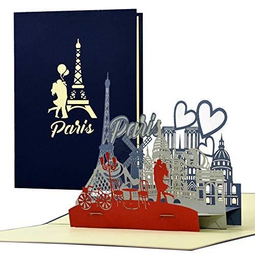 Bon podróżny 3D Pop Up dla niej lub dla niego do miasta miłości. Bon podarunkowy lub kartka urodzinowa Paryż. Pomysł na prezent i prezent, A124AMZ