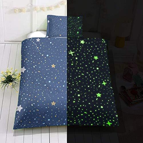 Loussiesd Kinder Sterne Motiv Bettwäsche Set 135x200 cm Glow in The Dark Mädchen Jungen Sterne Universum Bettbezug Set Sternenklarer Himmel leuchtet im Dunklen Weich Mikrofaser