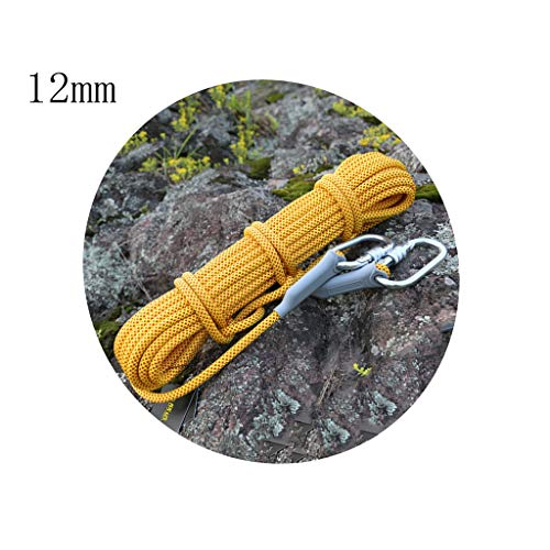 ZHWNGXO 12mm Cordon de Survie, d'extérieur de qualité Commerciale Cordes tressées Cord Parachute feu avec Serrure en Acier en Forme de O-Polyester Force de Traction 32KN