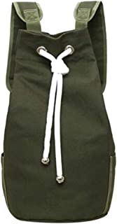 Drawstring Backpack Canvas Casual Large Capacity Sport Outdoor Backpack,ArmyGreen