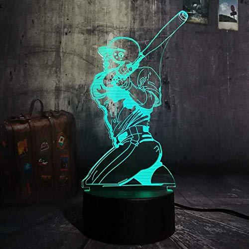 Nieuwigheid Nieuwe Sport Spelen Baseball 3D LED Illusie USB Afstandsbediening Nachtlampje 7 Kleur Verandering Lamp Thuis Decoratie Kind Jongen Man Gift A-1105