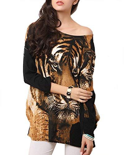 HhGold Vestido de Camisa Estampada con Estampado Casual de Tigre para