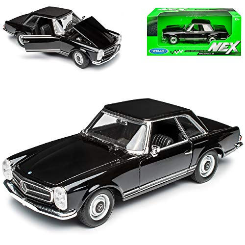 Mercedes-Benz SL-Klasse 230SL Pagode Coupe Schwarz W113 1963-1971 1/24 Welly Modell Auto