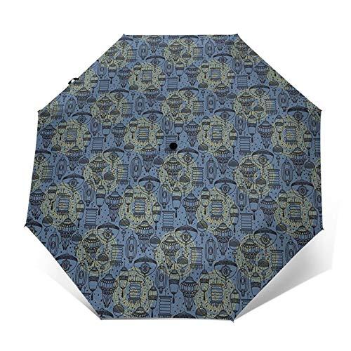 Regenschirm Taschenschirm Kompakter Falt-Regenschirm, Winddichter, Auf-Zu-Automatik, Verstärktes Dach, Ergonomischer Griff, Schirm-Tasche, Laterne 20