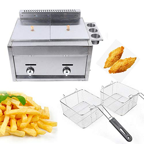 Commercial Countertop Gas Fryer 2 Baskets Fryer Kitchen 6L*2 Liquid Propane/Natural Gas Commercial Countertop Gas Fryer Deep Fryer Combined Fryer Set 2 Baskets Propane