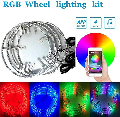 4pc 15.5Inch RGB Auto Multiple dream color Wheel lighting kit with Dream color Blue-tooth controller,288LEDs LED light strips fits most cars, trucks, SUV ATVs