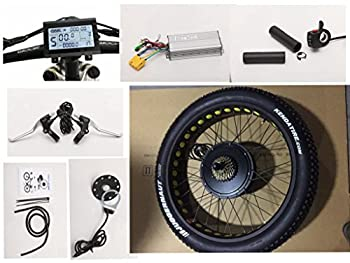 NBpower 26  x 4.0 48V 1500W Electric Bicycle Fat Bike kit 1500W Fat E-Bike Conversion Kit with 1500W Hub Motor,Multifunction LCD Display with Tire.
