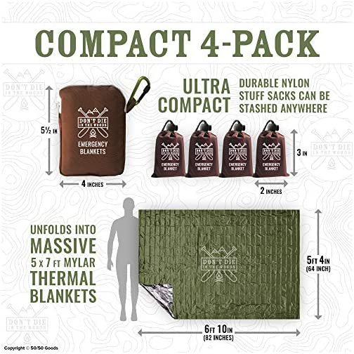 World's Toughest Emergency Blankets | 4 Pack Extra Large Thermal Mylar Foil Space Blanket Heat Sheets For Hiking… 5