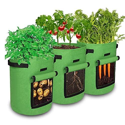 Sacchetti per Coltivazione Patate NASUM, Borsa per Piante, Piantapatate Sacchi, Materiale non Tessuto Addensato, Verde, 10 Galloni, 3 PACK
