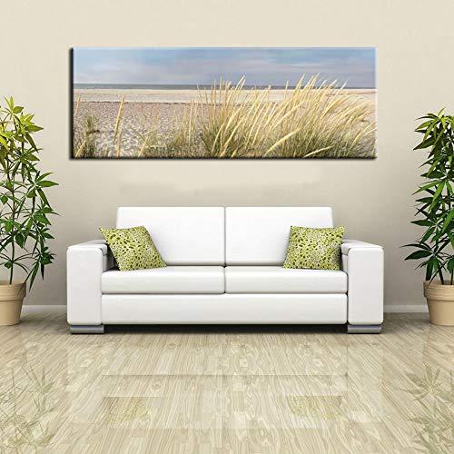Pintura de pared moderna Arte Pintura de paisaje de playa Cielo Isla Arena Cola Hierba Cartel de impresión HD para sala de estar Decoración del hogar 20x60cm (8x24in) Sin marco