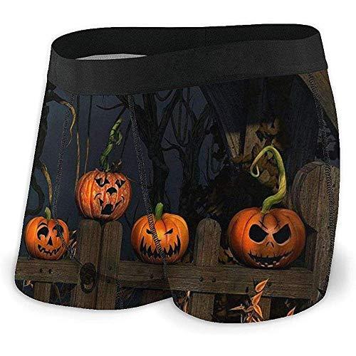 Halloween Kürbis auf Zaun Herren 'S Boxer Brief leichte atmungsaktive elastische Unterwäsche, XL