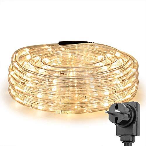 LE 10m LED Lichtschlauch, 240 LEDs Lichterschlauch IP44 Wasserfest, Lichterkette Strombetrieben mit EU-Stecker für Innen Außen Party Hochzeit Deko, Warmweiß Leuchtschlauch