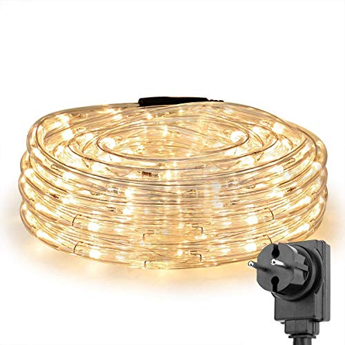 LE Manguera de Luces Exterior 10m 240 LED, Cadena de luces Blanco cálido con Enchufe, Resistente al Agua para Exterior, Jardín, Césped, Terraza, Patio, Navidad