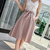 MIBKLPG Faldas para Mujer Falda A Cuadros Kawaii Una Línea De Decoración De Arco Faldas Casuales M Naranja