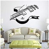 Instrumentos Musicales Guitarra Etiqueta De La Pared Estudio De Música Decoración Pintura De La Pared Guitarra Música Pared Abstracta Vinilo Calcomanía 88X57Cm